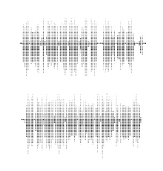 Halftone square elements sound waves vector