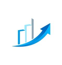 Arrow business finance chart trade logo vector