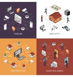 Home security 4 isometric icons square vector