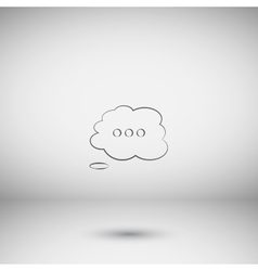 Thought cloud with lines vector