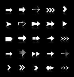 Arrow icons with reflect on black background vector image