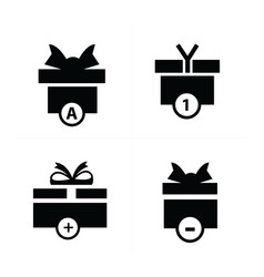 black gift and bubble talk icons vector image vector image