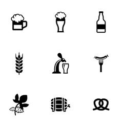 Black oktoberfest icon set vector