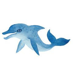 Blue dolphin watercolor vector