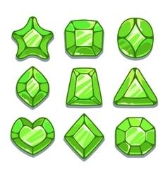 Cartoon green different shapes gems set vector image