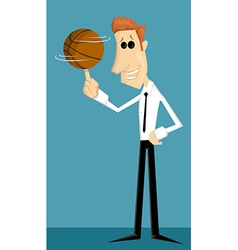 Cartoon office worker with basketball vector