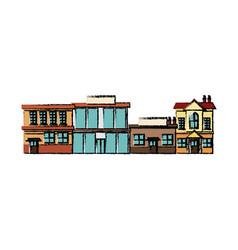 City urban office buildings shops exterior vector
