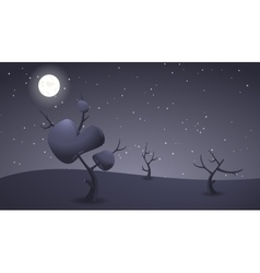 Dark night cartoon landscape for game design vector image