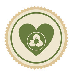 Emblem green heart with ecolgy symbol vector