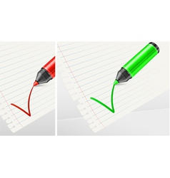 felt tip green pen checklist vector image