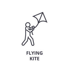 flying kite line icon outline sign linear symbol vector image vector image