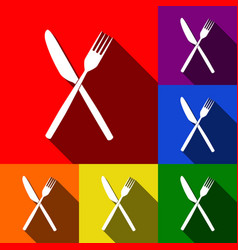 Fork and knife sign set of icons with vector