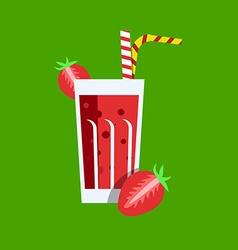 Fresh strawberry juice drink vector