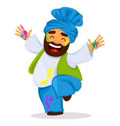 Funny dancing man in paint vector