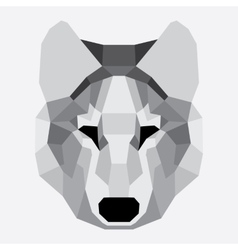 Gray low poly wolf vector