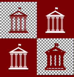 Historical building with flag bordo and vector