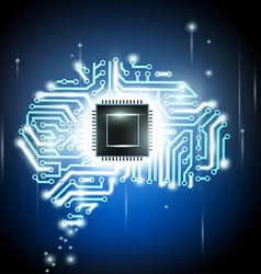Human brain as a computer chip vector