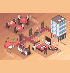 isometric hotel horizontal background vector image vector image