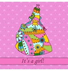 Its a girl card with princess vector image vector image
