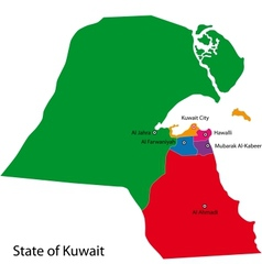 Kuwait map vector image vector image