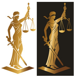Lady justice gold vector