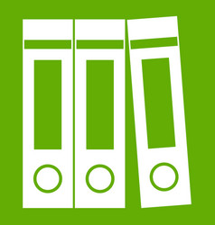 Office folders with documents icon green vector