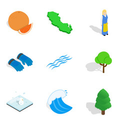 outdoor leisure icons set isometric style vector image