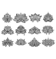 Paisley flowers and mandala set vector