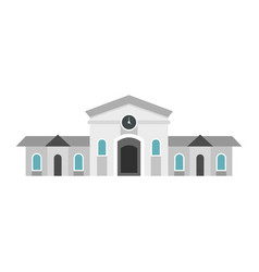 railway station building icon flat style vector image vector image