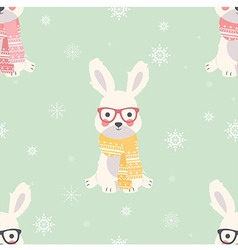 Seamless Merry Christmas patterns with cute rabbit vector image