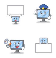 Set of monitor character with bring board police vector
