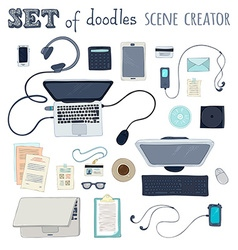 Set of office scene creator objects vector