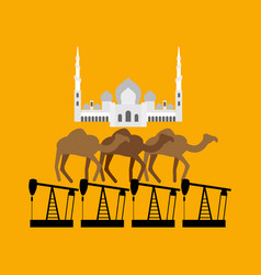 uae system sheikh zayed mosque stands on camel vector image