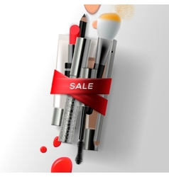 Various makeup brushes and cosmetics with red vector image vector image