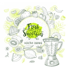 Set of hand drawn smoothie lables vector