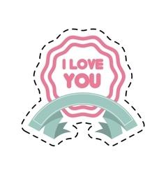 I love you decor ribbon label cut line vector