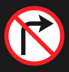No right prohibition turn sign flat icon vector