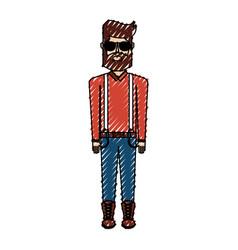 Scribble vintage body man cartoon vector
