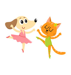 Dog and cat puppy and kitten characters dancing vector