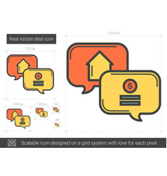 Real estate deal line icon vector