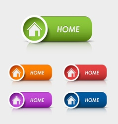 Colored rectangular web buttons home vector