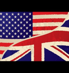 Usa british grunge flag vector