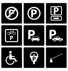 Black parking icon set vector