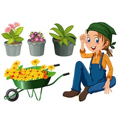 Gardener with potted plants and flowers vector