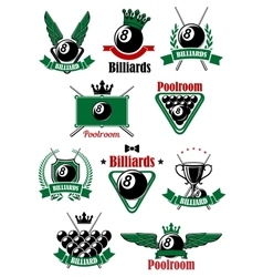 Billiards sport game heraldic icons vector