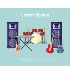 Rock band musical instruments in flat style vector
