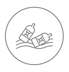 Bottles floating in water line icon vector