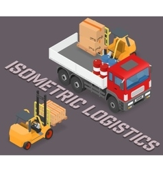 Process of loading the trucks with a forklift vector