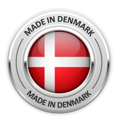 Silver medal made in denmark with flag vector