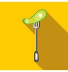 Salted cucumber on a fork icon flat style vector